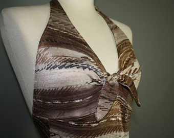 vintage bathing suit 1970s brown and cream striped pattern swimwear