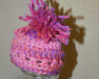OOAK Newborn - 3mo Pom Hat