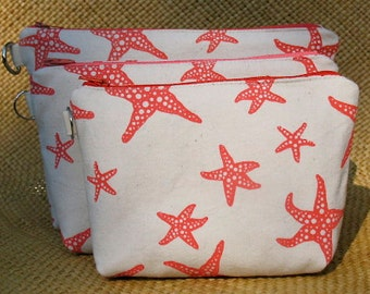Coral Colored Sea Star Hand Printed on Hand Sewn Canvas Zipper Bag