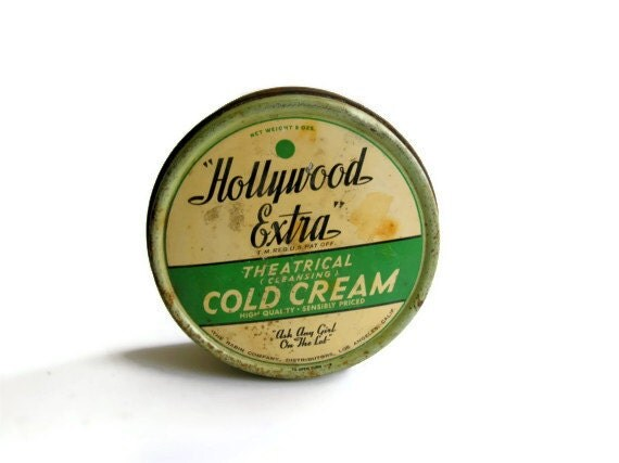 Vintage Tin Hollywood Extra Theatrical Cold Cream Rabin Theater Makeup Jadeite Green Black Graphics