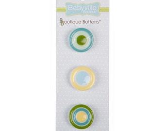 Babyville Boutique button set - yellow dots