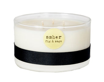 SALE candle in Asher, fig & sage. Prosperity and happiness!
