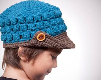 Crochet Hat Pattern for Kids Newsboy - Popcorn Beanie