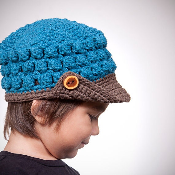 Crochet Hat Pattern for Kids Newsboy - Popcorn Beanie