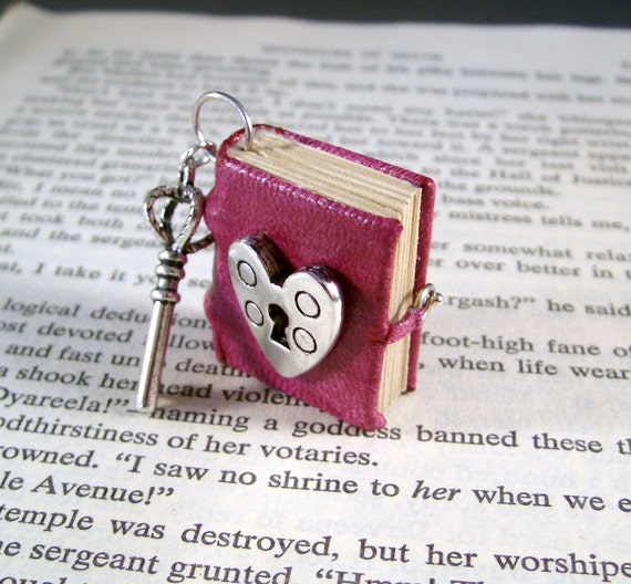 Miniature Book Necklace Charm Under Lock and Key Heart Lock and Crown Key