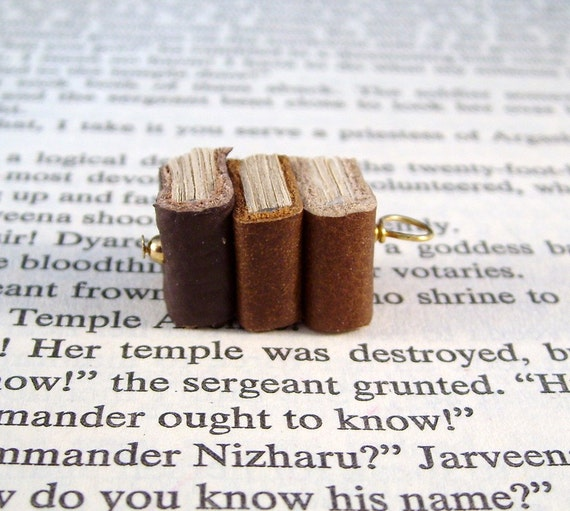 Miniature Book Necklace Stack of Three Mini Books Necklace Brown