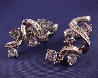 Coro Gold-Tone and White Rhinestone Earrings