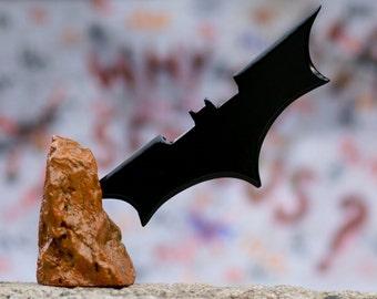 Batman logo symbol  art sculpture wood black dark knight