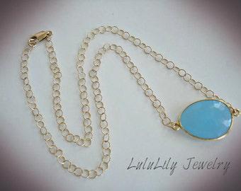 Chalcedony Blue Necklace. Soft Blue, Gold Necklace, Minimalist Style