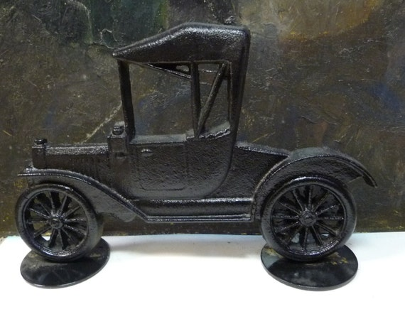 Vintage Cast Iron Door Stop Old Fashioned Car By Salvagerelics