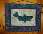 Trout quilt with sunfish border hand appliqued wall hanging with blue and purple featured