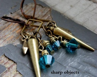 THE POINT - spiked brass cluster, antique dagger, teal glitz crystals & square frame metalwork dangle EARRINGS