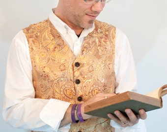 Mens Vest brocade steampunk Victorian made to order