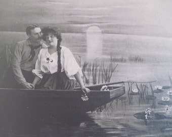 "antique photograph, Lovers on a Boat - vintage Studio Portrait of a Victorian Couple in a rowboat, ready to frame, 9"" x 7"""