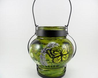 Hand Painted Lantern Candle Votive Holder Lantern Butterfly