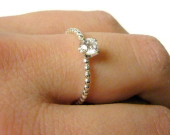 Gemstone ring Cubic zirconia ring sterling silver stacking ring sterling silver ring beaded stone ring