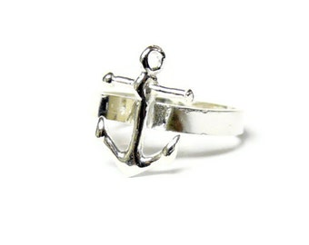 Sterling silver anchor ring silver stacking ring anchor jewelry stackable ring nautical jewelry sterling silver ring