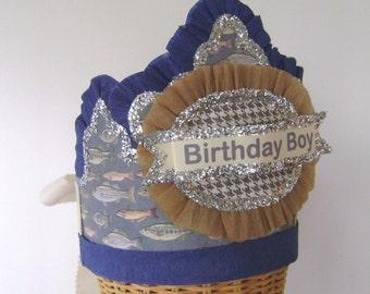 Birthday Hat-  BIRTHDAY BOY-   Birthday Party Crown / Hat - fish