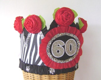 60th Birthday pary Crown, 60th birthday party Hat, zebra birthday hat, customize with any number