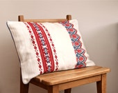 RESERVED for Evie OOAK hand embroidered  and hand woven red and blue pillow cover