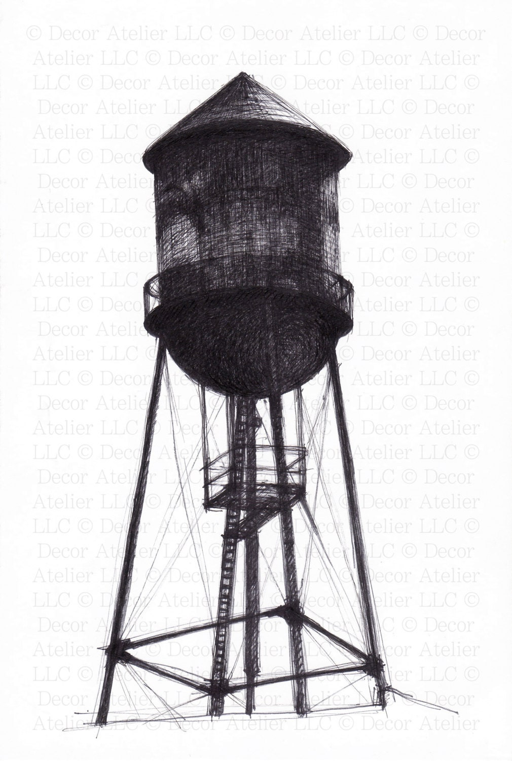 Brooklyn Water Tower Drawing Free Shipping