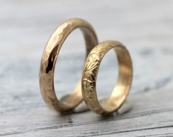 His and Hers Couples Rings-His and Hers wedding Rings- Modern Meets Classic 14K Gold Filled Wedding Band Set w Secret Message