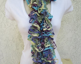 Ruffled Scarf in Wild Hydrangeas (Purple, Aqua, Green, Yellow) READY TO SHIP