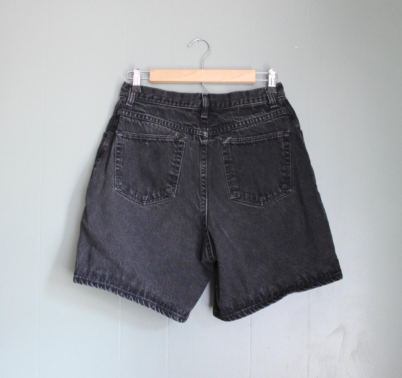 Vintage 90s Wrangler Black Denim Shorts Women M Wrangler