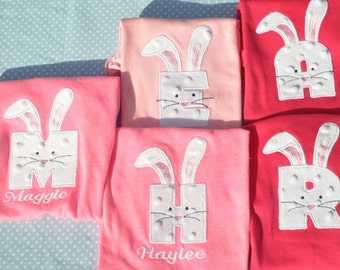Personalized Monogrammed Easter Bunny Shirt using your child's inital