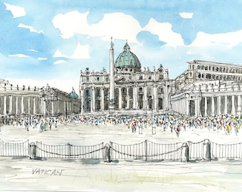 Vatican art print from original watercolor painting