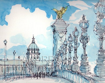 Paris Pont Alexandre III art print from an original watercolour painting