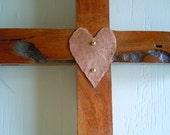 "Rustic Mesquite Cross,Copper Heart ""Cowgirl Love"""