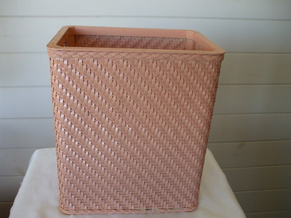 Vintage peach wicker trash basket original by onevintagevagabond - Wicker trash basket ...
