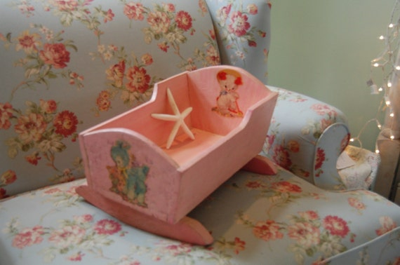 Vintage Baby Doll Rocking Cradle In Chippy Pink Cottage Style