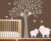 Wall Decals Nursery - Nursery wall decal - Owl Tree Wall Decal. Lamb Wall Decal Tree. Nursery Decals - Tree