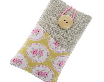 Fabric iPhone 6 case / iPhone 5 sleeve / iPhone 4 / iPod sleeve / cell phone protector / little roses / floral