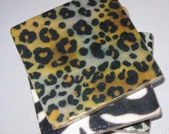 Animal skin coasters. Coasters. Ceramic coasters. Coaster set. Wild animal skins. African Safari. Large coasters.