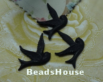 10 pcs ( 25 x 25 mm) Pretty Flying Bird Cabochon,Black