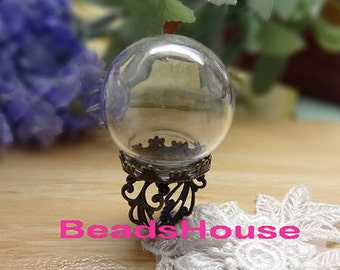 3 sets ( 15mm ) Large Clear Glass Globe Bottle With Antique Brass Filigree Crown Ring