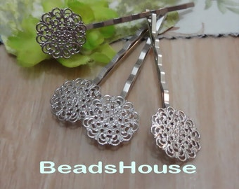 Sale 10% OFF -10pcs Silver Plated Hair Clip W/15mm Filigree (HF15), Nickel Free