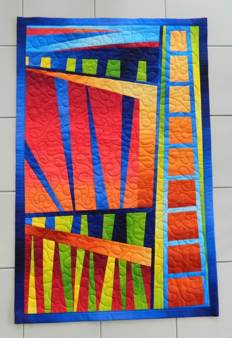 Sunset In The City An Abstract Quilted Artquilt Wall Hanging