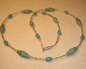 Rolled recycled paper bead necklace