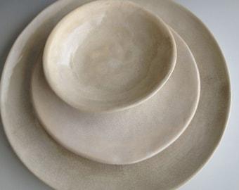 Handmade ceramic plates, dinnerware, Wedding gifts, Set of 3 Organic shaped Tableware, pottery plates Dinnerware set by Leslie Freeman