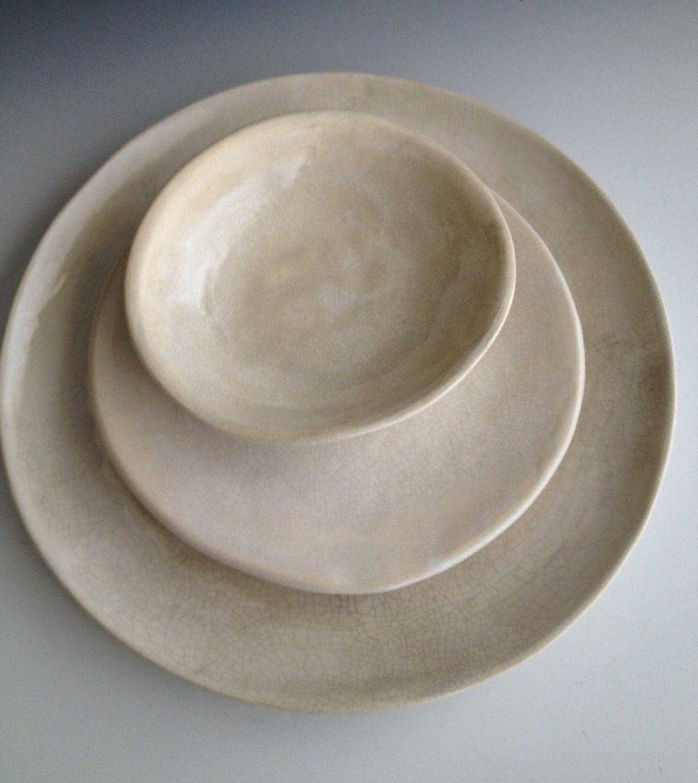 Handmade Ceramic Plates Dinnerware Wedding Gifts Set Of 3