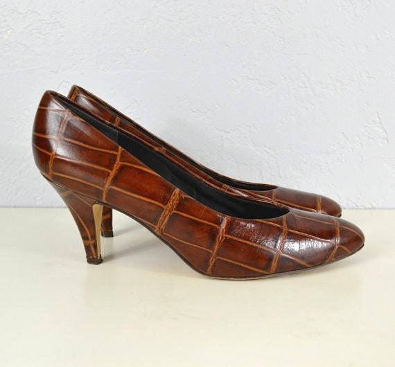Leather Pumps / 1970s / Crocodile / 7.5