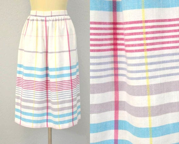 Striped midi skirt / RASPBERRY TURQUOISE / 1970s
