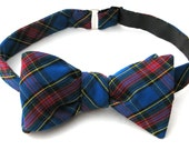 Men's Freestyle Bow Tie in Royal Blue Plaid