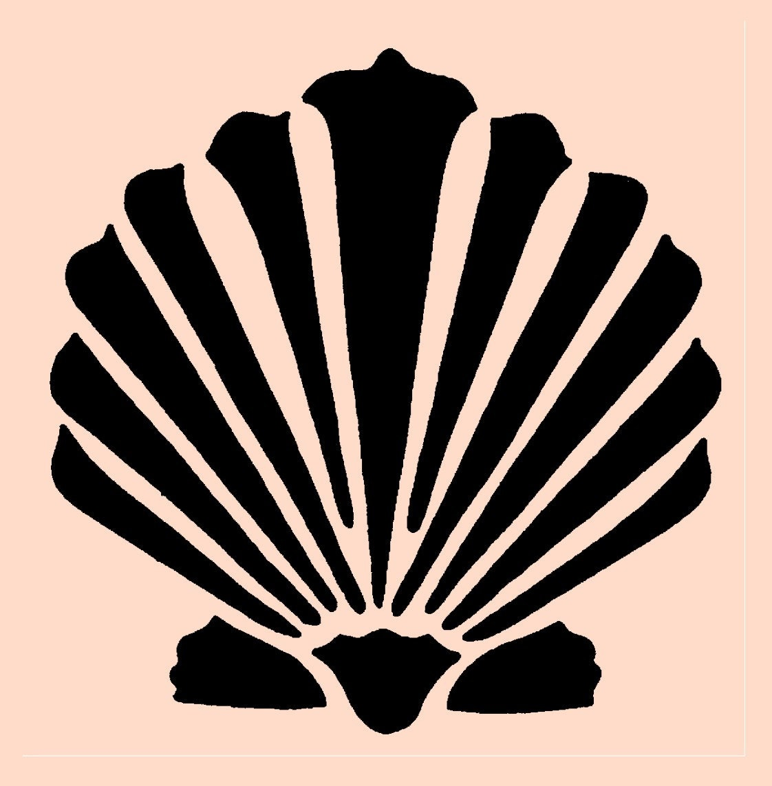 Handy image with seashell stencil printable