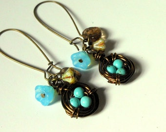 Birds Nest Earrings,Wire Wrapped Nests,Turquoise Eggs in Nest
