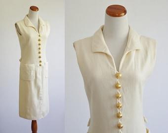 Vintage Adele Simpson Dress, 60s Dress,  Sleeveless Shift Dress, Cream Dress, Gold Buttons, Button Down Dress, Collared Dress, Bust 36Medium